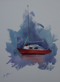 The Red Hull, watercolour, A3