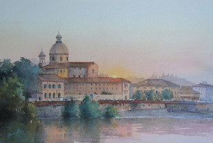 Sunset on the River Arno Florence, Watercolour, 62.5 x 52