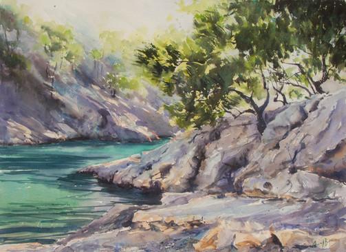 Dappled Light, watercolour, sold, 96 x 7