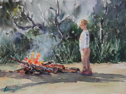Bonfire Study  watercolour 42 x 32.5cms