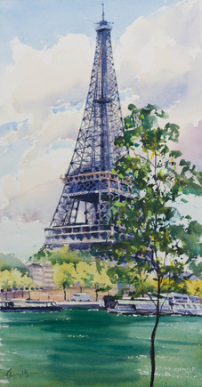 Iconic Tower, Watercolour, 46 x 75cm