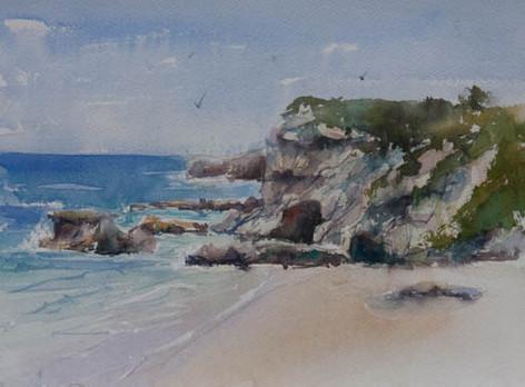 Caves Beach Headland, watercolour