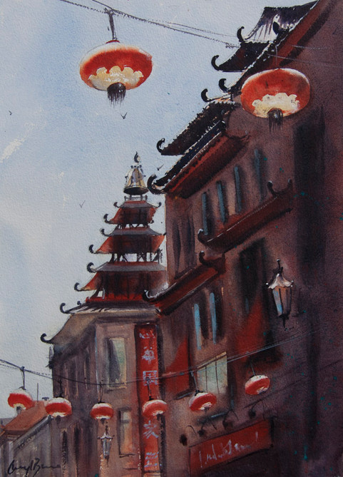 Chinatown, San Francisco, watercolour, sold
