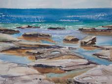Rocky Headland at The Skillion, watercolour A3 , 40 x 50cm