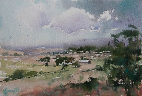 Down in the Valley, watercolour,