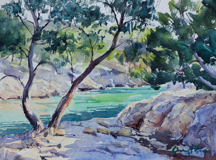 Shaded Rocky Outcrop, watercolour, sold