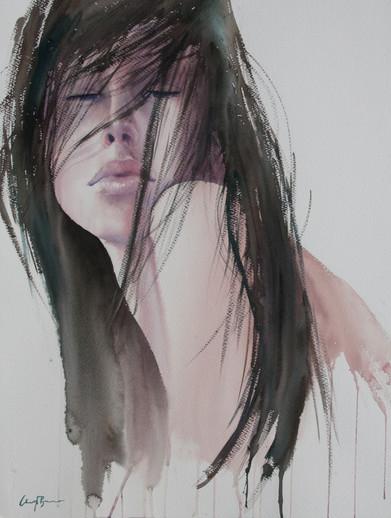 Through Her Eyes I, Watercolour full sheet