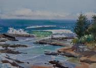 Rock Pools at Shelley Beach, watercolour, 51 x 40.5cm