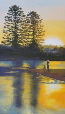 Retreating Sun - Terrigal Lagoon, oil, 80x56cm