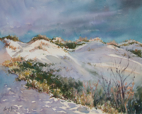 Late Afternoon Sand Dunes, watercolour, 53 x 73cm