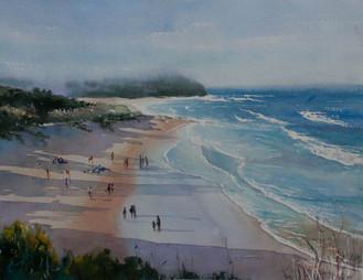 Caves Beach, watercolour, sold