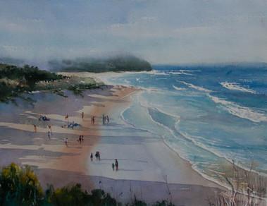Caves Beach, watercolour