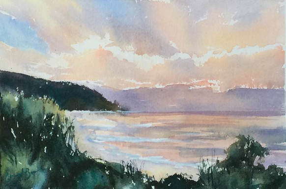 Sunset over the Beach, (Forries), watercolour 40 x 50cm
