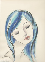 Blue Haired Girl, Ink, A4