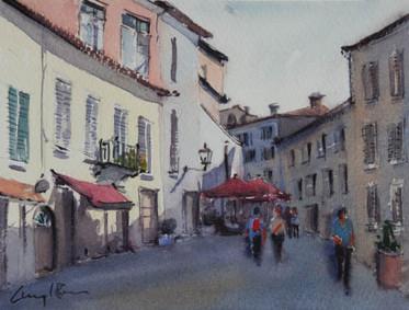 Italian Streetscene, watercolour, 23 x 17.5cm (unframed measurement)