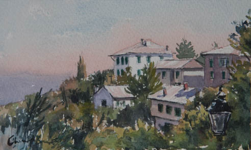 Tuscan Rooftops, watercolour, 22.x14cm