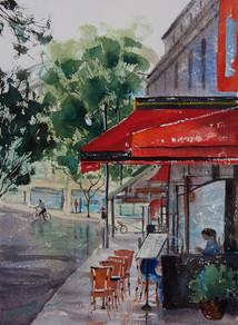 Paris Street Cafe, Watercolour, 50 x 64cm