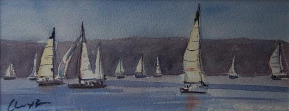 Regatta Practise, watercolour, 30x 20cm