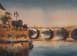 Bergerac Dusk, watercolour 30 x 22.5cm (unframed measurement)