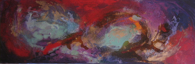 Underneath the Surface III, mixed media with resin, 122x31c,