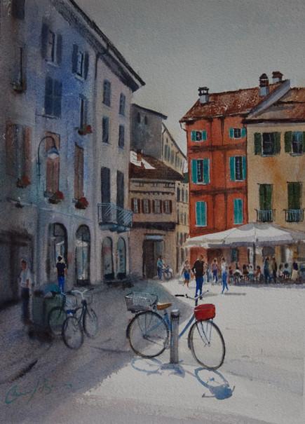 Street Cafe Como, Watercolour, 50 x 64cm, sold