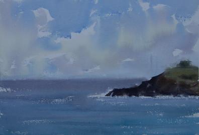 Rain Over the Ocean, watercolour, 40.5 x 51