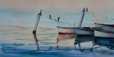 All Tied Up, watercolour , sold