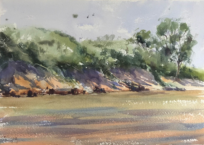 "Wamberal Lagoon, watercolour 16x20"""
