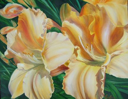 "Daylilies, Oil, 16 x 20 """