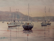 Just on Dusk, watercolour, 610x 52cm, sold