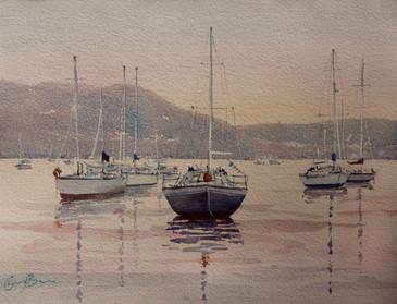 Just on Dusk, watercolour, 610x 52cm