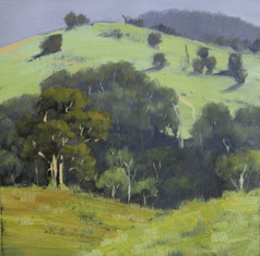 Sunlit Hill, oil, 30 x 30cm