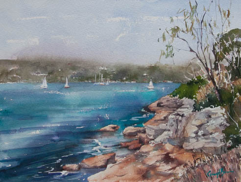 Sydney Harbour from Georges Head, watercolour, sold