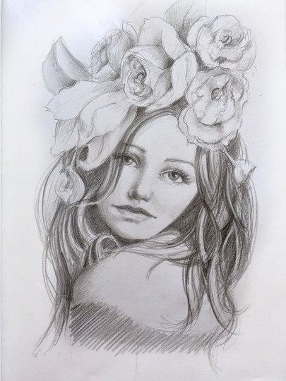 Flowers in Her Hair, graphite pencil