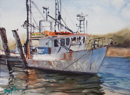 The Trawler, watercolour, 30 x 40cm