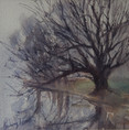 Misty Morning Gundagai, watercolour 30x30cm