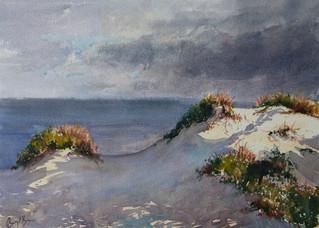 Sunlit Dunes, watercolour, 50 x 63