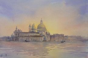 Venice Lagoon, Watercolour, 62.5 x 52cm, sold