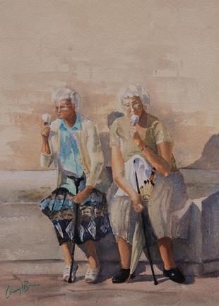 Gelato Break, Rome, Watercolour, 50 x 64cm, sold