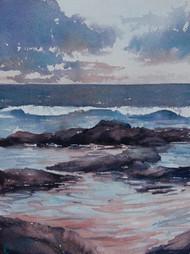 Twilight Rockpools, watercolour, 30.5 x 23cm