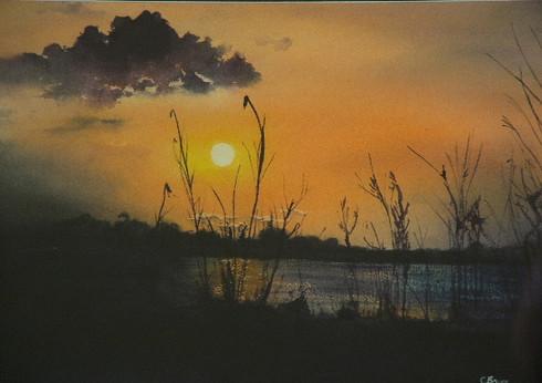 Zambezi Sunset, watercolour, sold