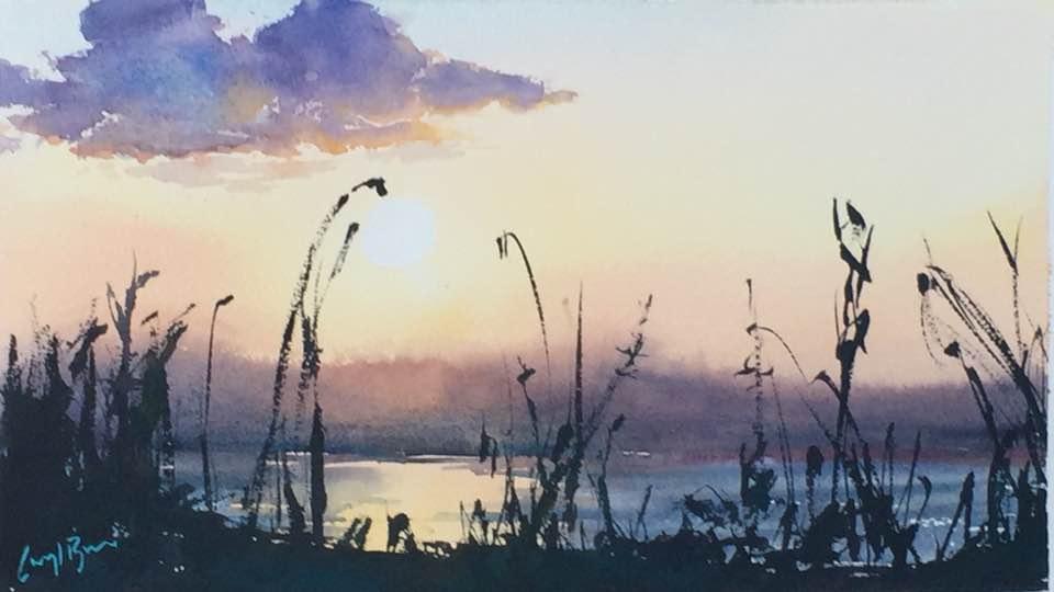 Zambezi Sunset, watercolour
