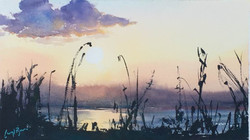 Zambezi Sunset, watercolour