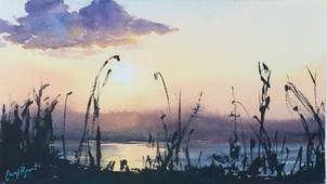 Zambezi Sunset, watercolour, approx 51 x 36cm