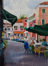 Cafe by the Canal, Burano, Watercolour, 50 x 64cm