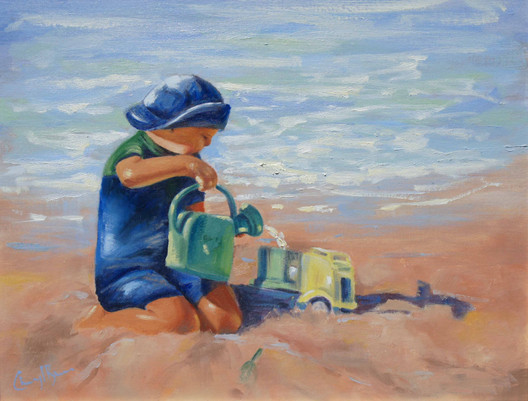 Sand Toys, oil, 52.5 x 62.5cm