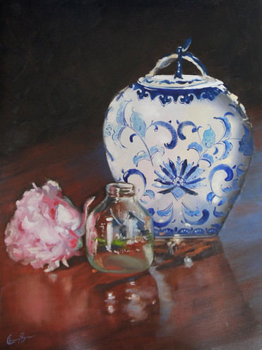 Ginger Jar with Peony, oil ,60 x 45.4cm