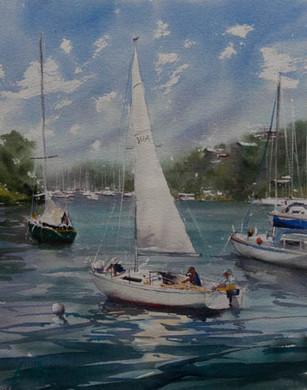 Mosman Bay, watercolour, sold