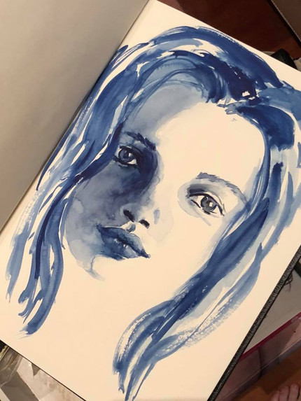 Brush only study in blue