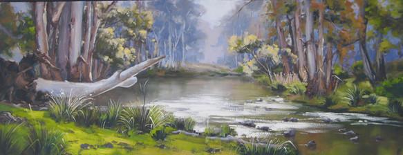 Sunlit River - Turon Gates, oil, 110 x 53cm